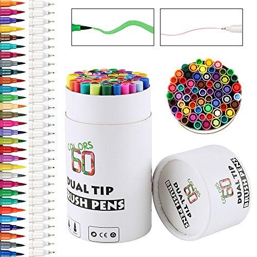 Aquarellstifte Set 60 Farben Buntstifte Set Aquarell Stift Set Dual Spitze Wasserfarben Pinselstift Marker Pens für Kinden, Malerei, Malbücher, Manga, Comic, Kalligrafie
