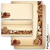 40-tlg. Briefpapier Komplett-Set WEIHNACHTLICHES ALLERLEI 20 Blatt Briefpapier + 20 passende Briefumschläge DIN LANG ohne Fenster