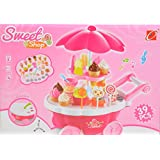 Scrafts 39 Pcs Of Colourful Kids Role Pretend Play Battery Operated Sweet Shop Candy Cart Toy For Children (3 And Above) With Lights, Music And Multiple Amusing Accessories. LWH(cms)= 33x20x38.