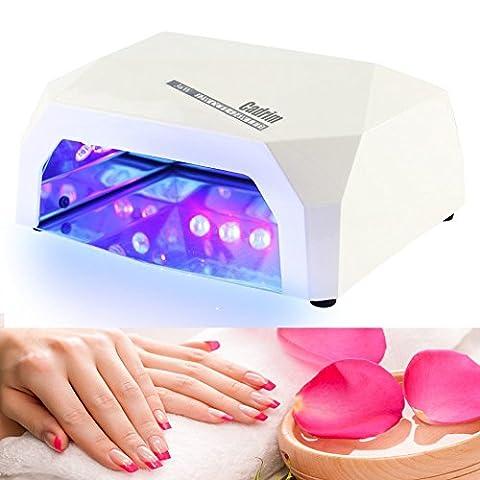 Sèche Ongles Cadrim 36W Lampe UV Nail Dryer pour tout Gel UV Portable avec Minuterie et Automatique Sensor Pas de Bruit /L'utilisation à Domicile et Professional Beauty Nail Salon