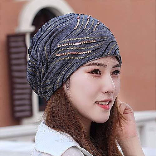 Frauen Vier Jahreszeiten Atmungsaktive Spitze Schal Hut, Glatze, Klimaanlage Kappe, Mond Kappe, Herbst Haufen Kappe, grau