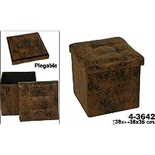 DonRegaloWeb - Puff plegable de polipiel decorado en color marrón desgastado