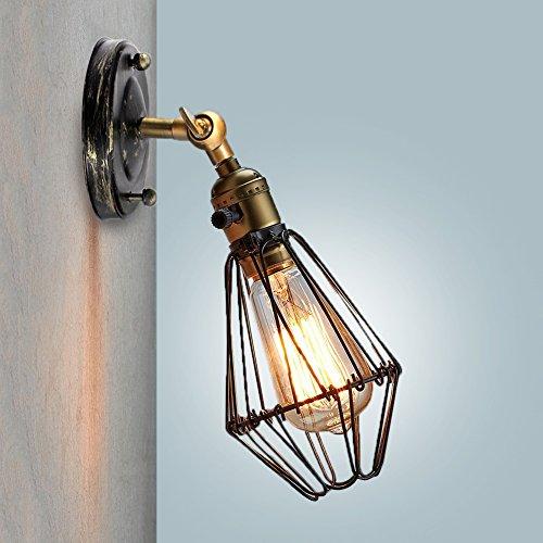 Wandlampe Vintage - 180° schwenkbar Wandleuchte Retro - Antik Deckenleuchte mit E27 Leuchtmittel...