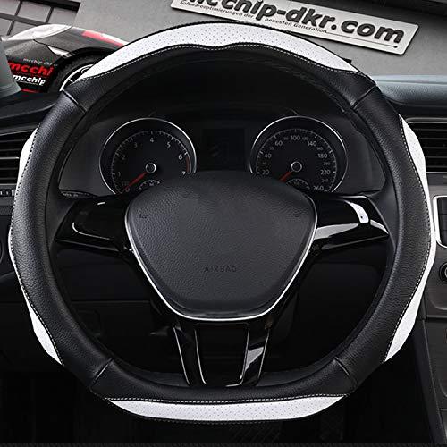 HEIFEN Auto Leder D-Typ Lenkradbezug Vier Jahreszeiten Universal Gefühl Qualität Rutschfeste 15 Zoll / 38 cm umweltfreundliche Gummi Soft Touch Soft-touch-gummi