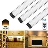 ANSCHE Luce per Armadio, Set di 3 luce dimmerabile LED per cucina con telecomando, 1100LM luce notturna, Bianco caldo 3000K, Illuminazione Bancone, Cucina, Scaffali, Corridoio Luci da incasso