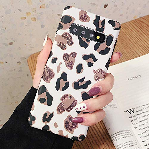 LCHULLE Slim Case for Samsung Galaxy S10 Soft Cover, Super Fashion New Leopard Skin Pattern Shockproof Case Skin Friendly Anti-Scratch Girls Soft TPU Back Bumper Shell Cases Covers-White Leopard Design Crystal Case Cover