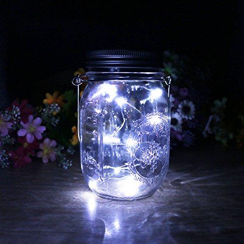 Mason Jar Licht Solar LED Glas Hängeleuchte Outdoor String Laterne Dekoration für Zuhause Party Garten Hochzeit (Weiß)
