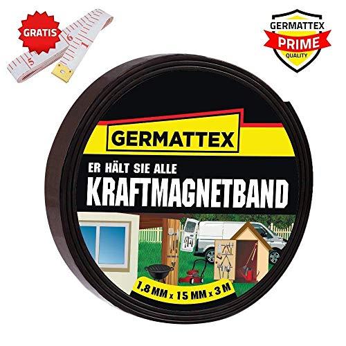 GERMATTEX Magnetband selbstklebend I Magnet I Magnetklebeband I Magnetklebestreifen I Magnetisches Klebeband I Magnetstreifen I Schule & Präsentationen (15mm x 1,8mm x 3m)
