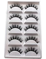 Blue Vessel 5 Paar Luxuriöse 3D Falsche Wimpern Kreuz Natürliche Lange Augen Wimpern Make-up