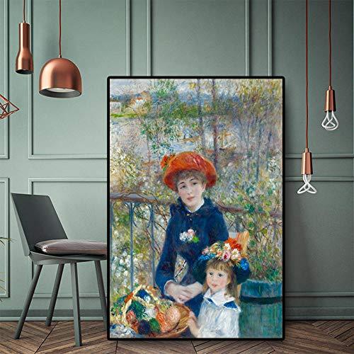 ZYWGG Leinwanddruck Bild Druck Bildern Zwei Schwestern Auf Der Terrasse Ölgemälde Renoir Poster Und Kunstdruck Auf Leinwand Giclée-Wandbild