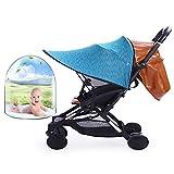 Kinderwagen Sun Shade RayShade mit großer UV-Schutzleistung, 360 Grad verstellbar, UPF50 +, Blackout Blind, Upgrade mit Mesh, große Größe für Kinderwagen & Kinderwagen, blau