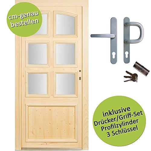 kuporta Fichte Holzhaustür nach Maß Lohne DIN links SIZE Haustüren Eingangstür Wohnungstür Holztür mit Drücker/Griff-Set
