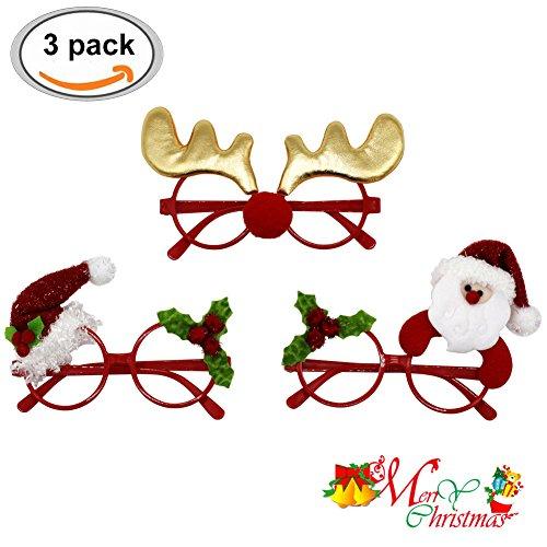 Brille Weihnachten (Weihnachten Brille, Weihnachts Party Gläser Lustige Weihnachts Brillen Rahmen Stützen Weihnachts Schmuck Geschenke für Kinder und Erwachsene, 3pcs)