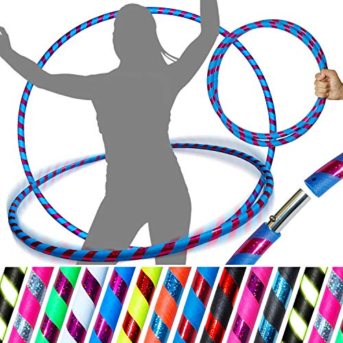 PRO Hula Hoops Reifen für Anfänger und Profis (Ultra-Grip/Glitter Deco) Faltbarer TRAVEL Hula Hoop ideal für Hoop Dance, Fitness Training & Fun! - Größe 100cm / 25mm∅, (UV Blau Grip / Lila Glitter) - Hula-hoop Glitter