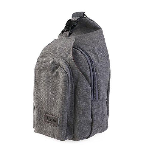 LEORX Herren Sport Brust Sling Bag Unwucht Rucksack Tasche aus PVC-Größe L (grau) Grau