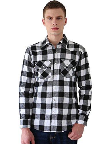 Allegra K Herren Langarm Brusttaschen Knopf unten Slim Zuform Shirt Hemd M (EU 50) (Langarm-knopf-front-shirt)