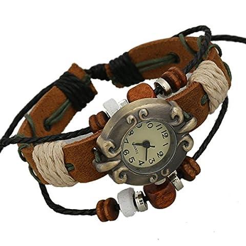 LZHM New Fashion Circle Leather Bracelet Wristband For Ladies Multi Strand Real Leather Bracelet Adjustable Bracelets Beaded Watch