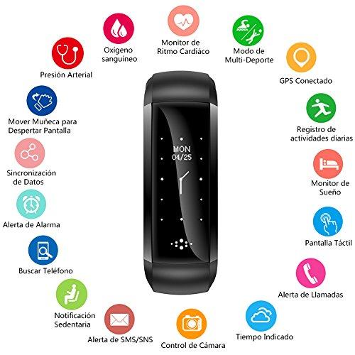 Pulsera Actividad con Oxímetro y Presión Arterial Pulsera Inteligente con GPS Pulsómetro BANLVS Monitor de Ritmo Cardíaco Pulsera de actividad Impermeable 68 Reloj Inteligente para IOS y Android