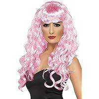Smiffys Peluca de sirena, rosada, larga, rizada con flequillo