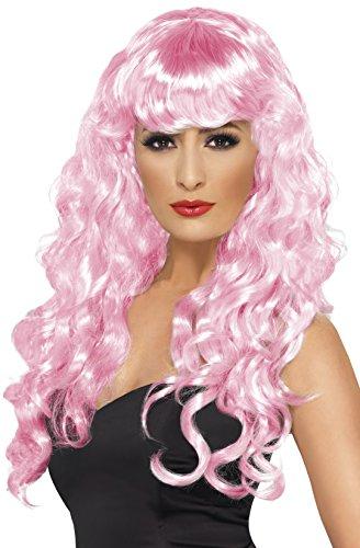 e Perücke mit Pony und Locken, One Size, Pink, 42264 (Meerjungfrau Halloween-ideen)