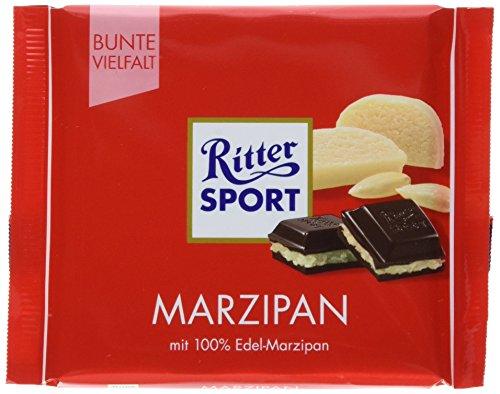 RITTER SPORT Marzipan (12 x 100 g), Halbbitterschokolade mit Marzipanfüllung, kalifornische Mandeln in knackiger Schokolade, 100% Edel-Marzipan (Ritter Sport Marzipan)