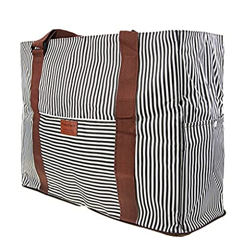 Foldable Travel Cabin Duffle Bag Striped Flight Holdall Lightweight Holiday Weekend Bag Overnight Gym Bag Fits in Luggage