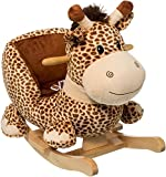 alles-meine.de GmbH XL Plüsch und Holz Schaukelpferd -  Giraffe  - mit Einstiegshilfe und Sicherheitsgurt - Schaukelgiraffe mit Gurt - Schaukeltier mit Plüschbezug & Holz Geste..