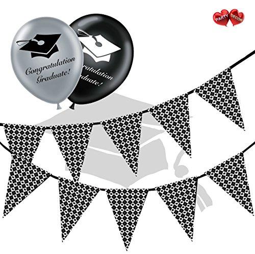 Gratulation Graduate Bundle Of Argyle Muster Wimpelkette Banner 15Flaggen und 10Silber und Schwarz 27,9cm Latex Luftballons Perfekte für die Graduierung Celebration Party von Party Decor
