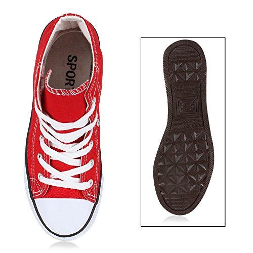 Damen Sneakers Denim Stoffschuhe Spitze Sneaker Low Nieten Glitzer Schuhe Freizeit Damenschuhe Turnschuhe Flandell Rot