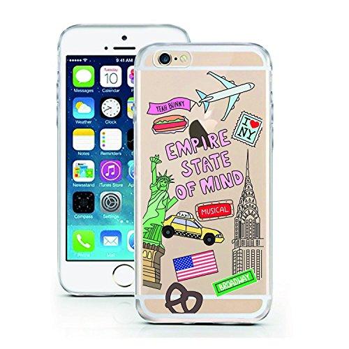 Blitz® ADORE Schutz Hülle Transparent TPU Cartoon Comic Case iPhone Flamingo iPhone 7 Empire State of Mind