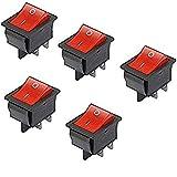 Haobase 5interruptores de luz roja ON/OFF DPST para barco - conmutadores basculantes 16A / 250V, 20A / 125V CA
