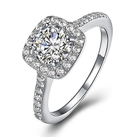 Amour Infini Femme Bague de Fiançailles Alliance Mariage Anneau Anniversaire 18K en Plaqué Or et Zirconium Cubique Diamant Idée Cadeau, JPR002-W-5-UK