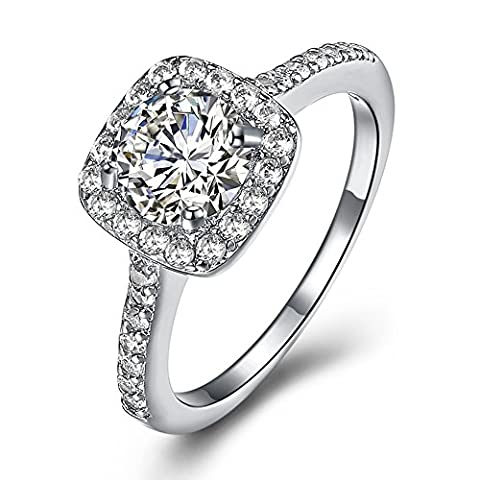 Eternal Love Women's 18K White/KC Gold Plated CZ Crystal Engagement Rings Best Promise Rings Anniversary Wedding Bands for Lady Girl, JPR002-W-8-UK