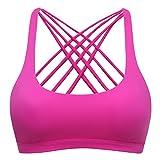 Sport BH Yoga BH Fitness BH Bustier Stretch Sports Bra Starker Leichter Halt Mit X-Rücken Für Running BH Geschmeidig Und Luftig Für Damen Rose Rosa XL