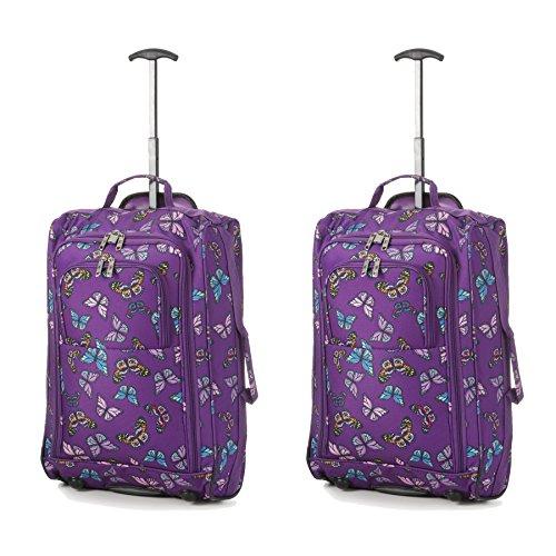 Set von 2 Leichtgewicht Handgepäck Kabinengepäck Flugtasche Koffer Trolley Gepäck Schmetterlinge lila