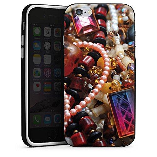 Apple iPhone 5 Housse étui coque protection Bijoux Bijoux Perles Housse en silicone noir / blanc