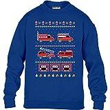 KIDS Toller Feuerwehr Weihnachtspullover Kinder Pullover Sweatshirt XS 98/104 (3-4J) Blau
