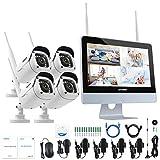 ANNKE 4CH 1080P NVR Kit Système de Surveillance sans Fil avec LCD Ecran Moniteur HD 11 - 4 IP Caméra Bullet 2MP Surveillance Vision Nocturne Accès à Distance,sans HDD