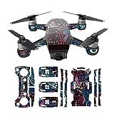 Hzjundasi Sunscreen Envolver Cuerpo+3*Batería+Brazo+Remoto Controlador Vistoso Pegatina Calcomanía Piel Set para DJI Spark Drone Modelo KU03