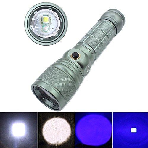 GENWISS CREE XM-L T6 LED LINTERNA AJUSTABLE LAMPARA DE LA LUZ DE LA ANTORCHA PURPURA Y Q5 LED DE LUZ BLANCA LINTERNA ULTRAVIOLETA AMBER COSMETICOS SCORPION (INCLUIDOS BATERIA Y EL CARGADOR)