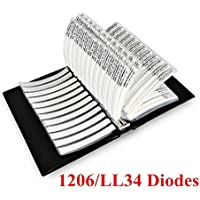 onesky-uk [1206/LL34] SMD Zener-Diode 0,5W 2,430V Probe Buch 26Wert X 50PCS sortiert Ordner [1300PCS]