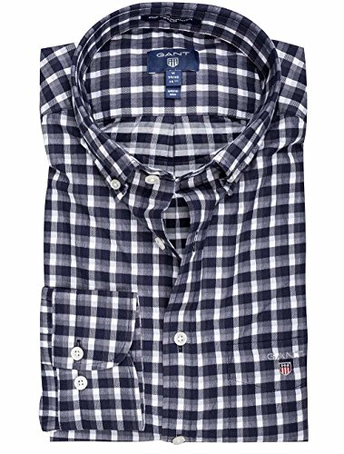 Gant Mixed Weave Regular Fit Gingham Shirt in Navy