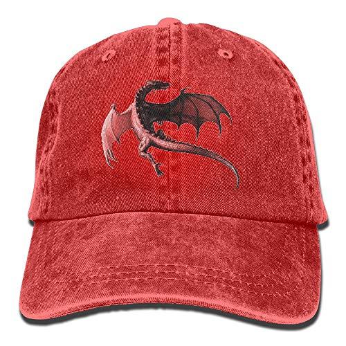 Cupsbags Men&Women Dragon Red Adjustable Vintage Washed Denim Cotton Dad Hat Baseball Hat Natural -
