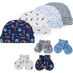Lictin 8 Pcs Gorra de algodón Y Scratch Mitten Set para Bebé Niños Material de 100% algodón Incluyendo 4 Caps y 4 Pares de Mitones