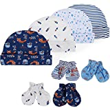 Lictin Newborn Baby Cotton Caps Mittens - 100% Cotton 4pcs Baby Cotton Caps Hats and 4 Pairs Baby Scratch Mittens Gloves for Baby Boy(0-6 Months) Blue