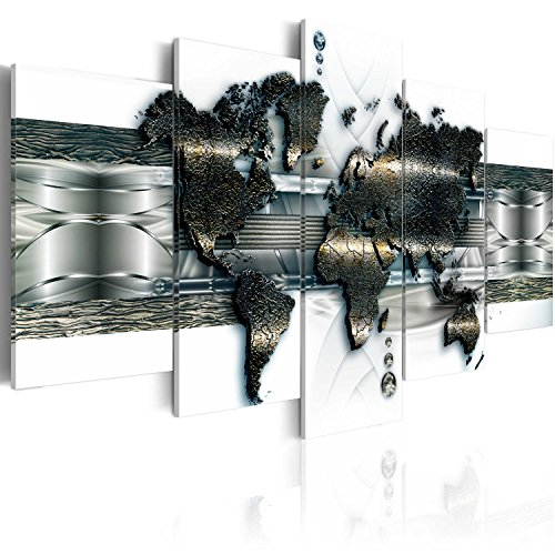 murando - Bilder 200x100 cm Vlies Leinwandbild 5 TLG Kunstdruck modern Wandbilder XXL Wanddekoration Design Wand Bild - Weltkarte k-A-0022-b-o