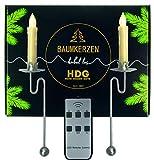 Baumkerzen kabellos - 6er Set LED Kerzen mit Fernbedienung und Metall Pendelhalter | Balancehalter Silber im Set mit Baumkerzen in weiß