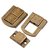 "5Pcs 1.18""x 0.94"" Antique Brass Hasp Wood Chest Lock Latch Clasp with Screws for Jewellery Box Suitcase Decoration, Antique Brass"