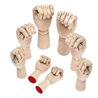Wooden Hand Model, Yefun Right/Left Hand Body Artist Model Jointed Articulated Wood Sculpture Mannequin Wooden with Wooden Flexible Fingers