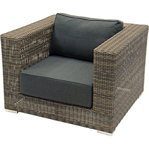 Chaise Lounge Fauteuil EL TORO Marron modulaire Salon de Concept Taupe/Gris avec structure en aluminium haute qualité 110 x 100 x 75